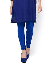 Pop Blue Viscose Knit Leggings - Mystic