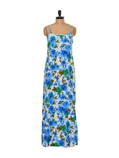 Blue Floral Print Dip Hem Maxi Dress - Trend 18