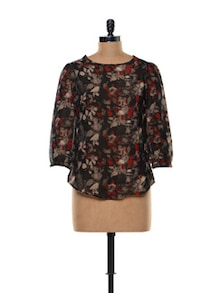 Floral Print Polyester Top - Trend 18