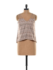 Tribal Print Dual Strap Cami Top - Trend 18