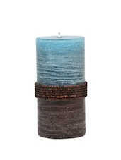Rustic Sea Blue Medium Candle Adorned With Beads - Calmistry