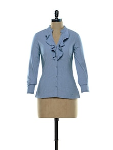Ruffled Blouse In Brilliant Blue - Kaaryah