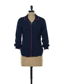Blue Lace-detailed Shirt-top - Kaaryah