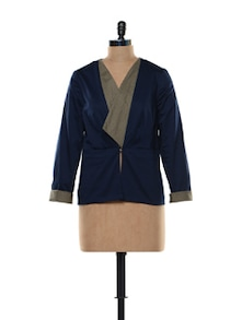 Navy Belted Tailored Jacket - Kaaryah