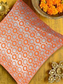 Embroidered Orange And Silver Cushion Covers - Chungi