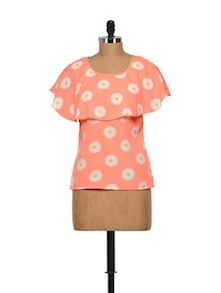Floral Print Top In Neon Coral - Meira