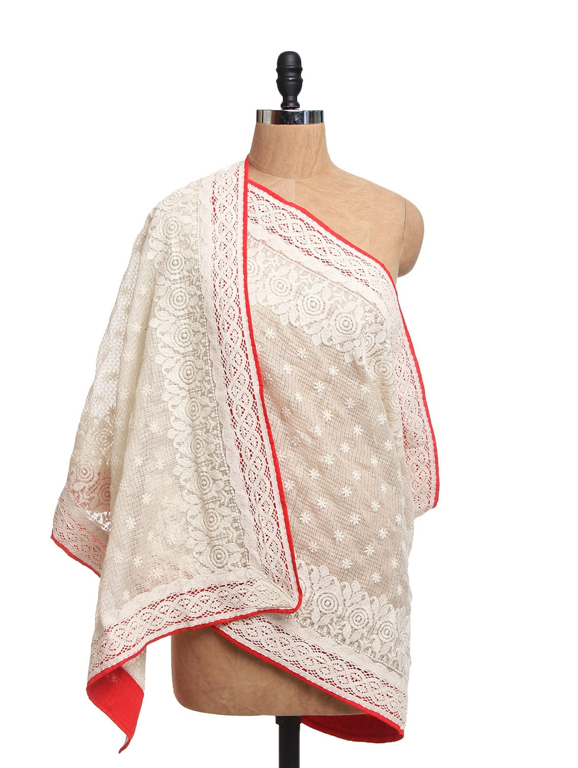 Ivory Tissue Silk Dupatta With Red Piping  And Cotton Lace - Dupatta Bazaar