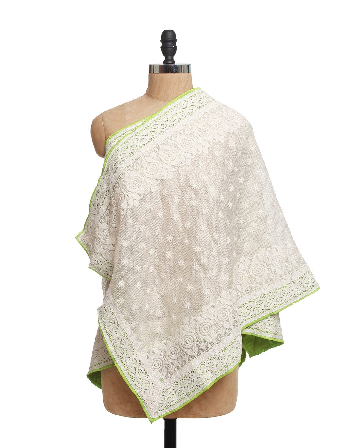 Ivory Tissue Silk Dupatta With Green Piping  And Cotton Lace - Dupatta Bazaar