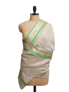 Ivory Tissue Silk Zari Dupatta With Green Piping  And Zari Border - Dupatta Bazaar