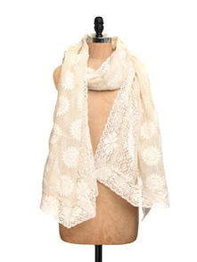 Ivory Tissue Silk Dupatta With Crochet With Cotton Lace Border - Dupatta Bazaar