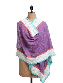 Self Embroidered Purple Net Dupatta With Cotton Lace - Dupatta Bazaar