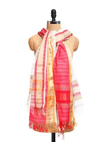 White And Red Maheshwari Silk Dupatta With Zari - Dupatta Bazaar