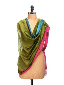 Mehendi Green Chanderi Silk Dupatta - Dupatta Bazaar
