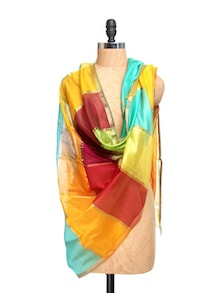 Maheshwari Silk Multicolour Dupatta With Zari And Tassels - Dupatta Bazaar