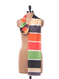 Cotton Silk  Striped Scarf With Sequins - Chalk N Cheese Lifestyles