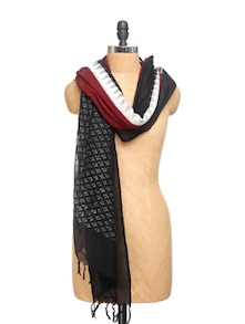 Black And White Ikat Print Cotton Dupatta - Dupatta Bazaar