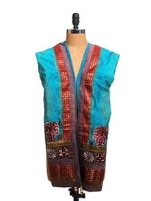 Blue And Maroon Maheshwari Silk Block Print Dupatta - Dupatta Bazaar