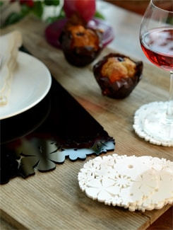 White Floral Laser Cut Acrylic Coasters (Set Of 6) - Chalk N Cheese Lifestyles