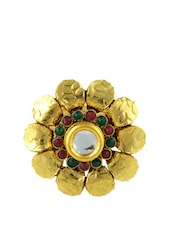 Kundankari Floral Ring With Stone And Faux Pearls - Luxor