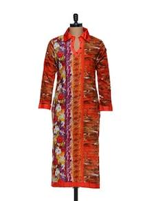 Striking Cotton Kurti In Orange - Arya Fashion