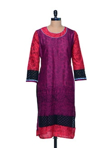 Lace Trimmed Cotton Kurti - Arya Fashion