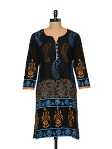 Black Cotton Designer Kurti - Arya Fashion