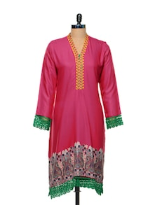 Lace Trimmed Pink Kurti - Arya Fashion