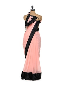 Pink Chiffon Saree With Black Velvet Border - Purple Oyster