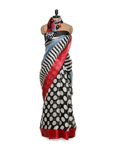 Black And White Silk Saree - Purple Oyster
