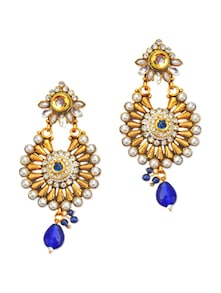 Traditional Kundankari Faux Pearl Embellished Earrings - Maayra