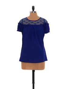 Blue Top With Lacy Yoke - Xniva