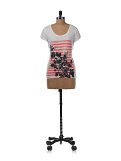 Vintage Rose And Striped Print Tee - Allen Solly