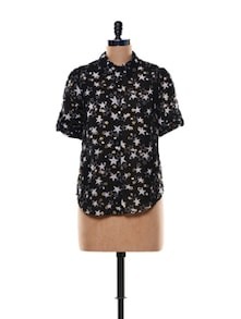 Star Print Black Sheer Shirt - Trend 18