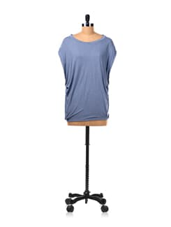 Smokey Blue Casual Top In Slubbed Viscose - Van Heusen