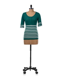 Half Stripe Half Solid T-shirt In Green - Van Heusen