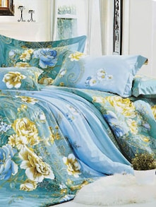 Blue Floral Print Bedcover Set - Story @ Home