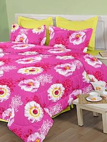 Sunflower Print Pink Bed Sheet Set - Birla Century