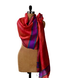 Red Hued Tussar Silk Striped Stole - SONJATO SEN