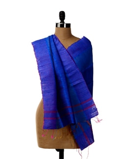 Blue Hued Tussar Silk Striped Stole - SONJATO SEN