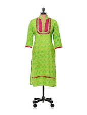 Leafy Green Kurti With  Embroidered Yoke - AFSANA