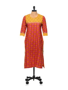 Orange Printed Kurti With Studded Yoke - AFSANA