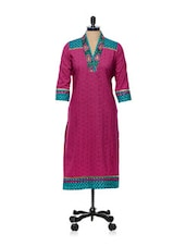 Pink And Blue Printed Kurti - AFSANA