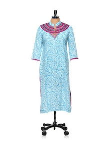 Blue And White Floral Kurti - AFSANA