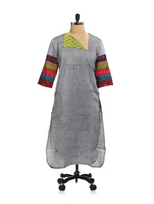 Melange Grey Cotton Kurta - Desiweaves