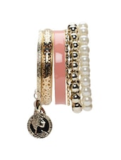 Metal Alloy Bracelets With Enamel Finish And Faux Pearls - ESmartdeals