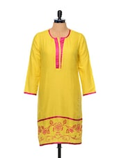 Yellow Cotton Kurta With Embroidered Hem - By