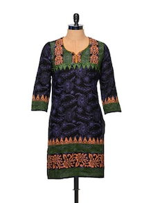 Floral Cotton Kurti In Black - Facon