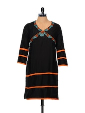 Embroidered Cotton Kurti In Black - Facon