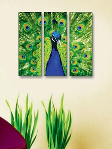Dancing Peacock Wall Art (3 Pc) - Zeeshaan