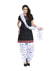 White And Purple Polka-Dot Salwar And Dupatta Set - STRI